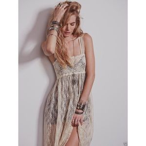 Free People Cream Lace Maxi Slip